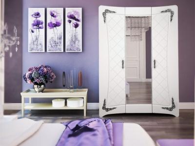Шкаф Аделина Белый глянец-Серебро