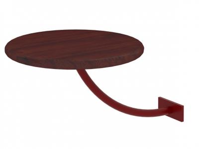 Полка прикроватная круглая Милсон коричневая-металл красный